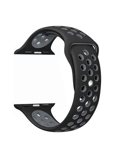 Bludfire Apple Watch Silikon Delikli Spor Kordon Kayış 1 2 3 4 5 Seri 42/44Mm Siyah - Gri Siyah